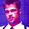 Brad Pitt photo probably with a judge advocate and a portrait entitled Mills (Se7en)