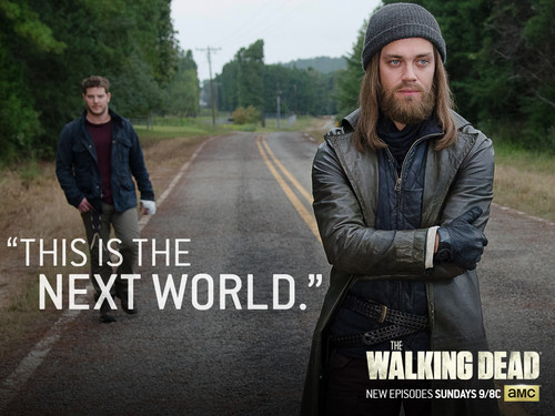 the walking dead wallpaper with a carriageway, a sign, and an outerwear called New World