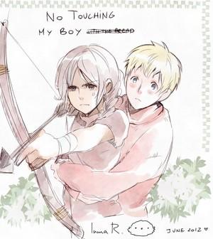 Peeta/Katniss Drawing - No Touching My Boy