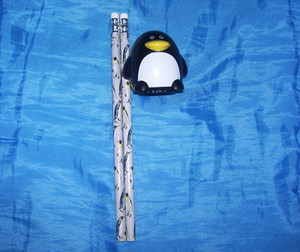 pinguino Pencils and Sharpener