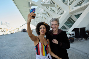 Peter Capaldi and Pearl Mackie - BTS