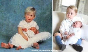 Prince William, age 2, holds baby brother, Prince Harry and Prince George, age 22 months, holds baby