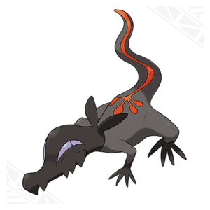 Salandit, the Toxic lucertola Pokemon.