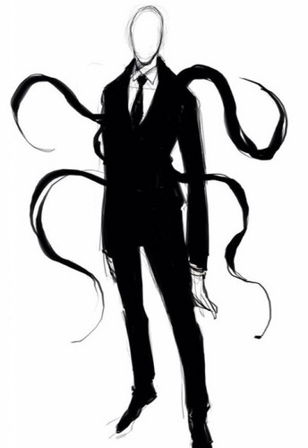 creepypasta پیپر وال possibly with a diving suit and a well dressed person entitled Slenderman