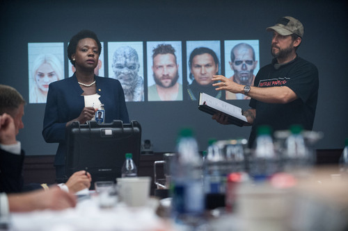 Suicide Squad 바탕화면 probably with a business suit titled Suicide Squad - Behind the Scenes - Viola Davis and David Ayer