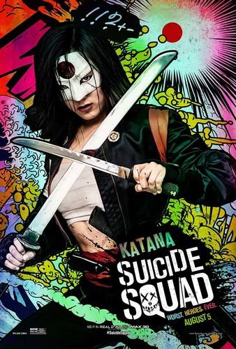 Suicide Squad karatasi la kupamba ukuta containing anime titled Suicide Squad Character Poster - Katana