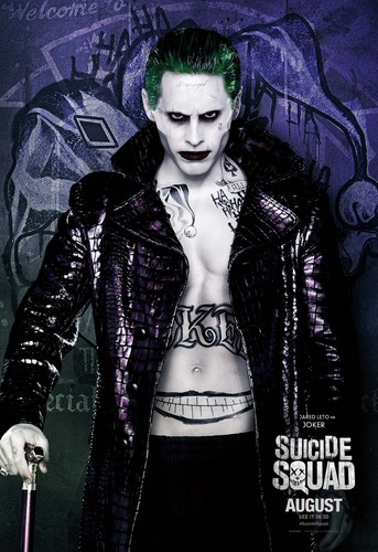 Suicide Squad karatasi la kupamba ukuta possibly with a box coat, an overgarment, and a well dressed person called Suicide Squad Character Poster - The Joker