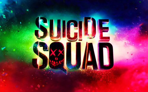 Suicide Squad پیپر وال possibly with a diner, a multiplex, and a سٹریٹ, گلی titled Suicide Squad Logo پیپر وال