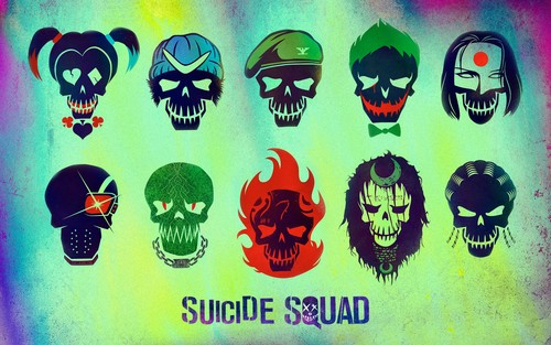 Suicide Squad 壁纸 probably with a sign called Suicide Squad Skull 壁纸