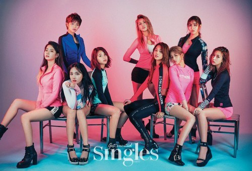 Twice (JYP Ent) wolpeyper possibly with bare legs, tights, and a leotard titled TWICE in 'Singles'