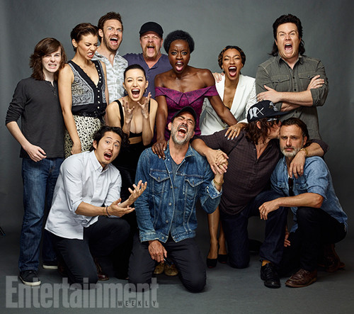 The Walking Dead achtergrond probably with a bridesmaid and a well dressed person entitled The Walking Dead Cast @ Comic-Con 2016