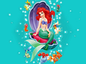 Walt 디즈니 팬 Art - Princess Ariel & Sebastian