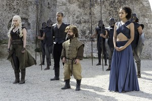 Tyrion Lannister, Grey Worm, Missandei and Daenerys Targaryen