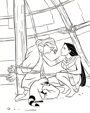 Walt Дисней Coloring Pages - Captain John Smith, Meeko & Pocahontas