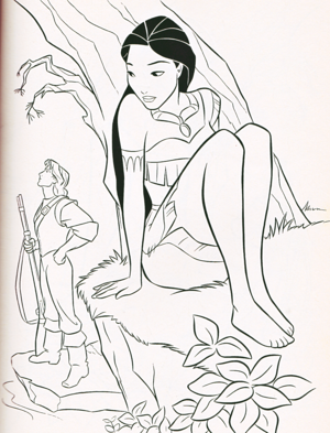 Walt 迪士尼 Coloring Pages - Captain John Smith & Pocahontas
