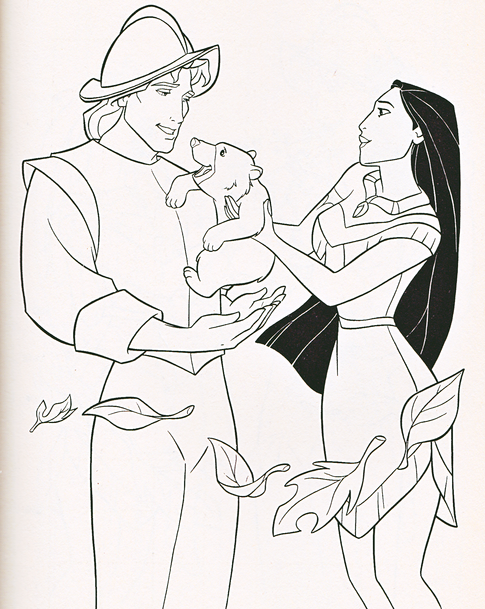 Walt ディズニー Coloring Pages - Captain John Smith & Pocahontas