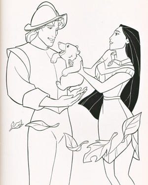 Walt Дисней Coloring Pages - Captain John Smith & Pocahontas