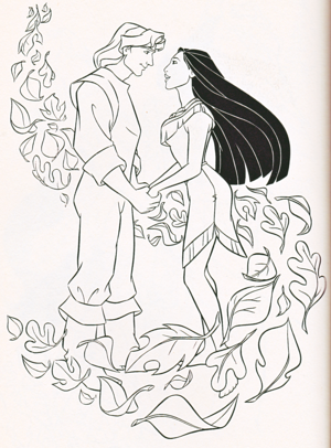 Walt 디즈니 Coloring Pages - Captain John Smith & Pocahontas