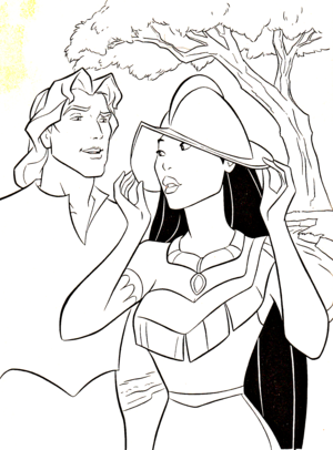 Walt ডিজনি Coloring Pages - Captain John Smith & Pocahontas