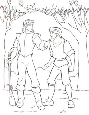 Walt Disney Coloring Pages - Captain John Smith & Thomas