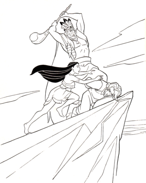 Walt डिज़्नी Coloring Pages - Chief Powhatan, Pocahontas & Captain John Smith