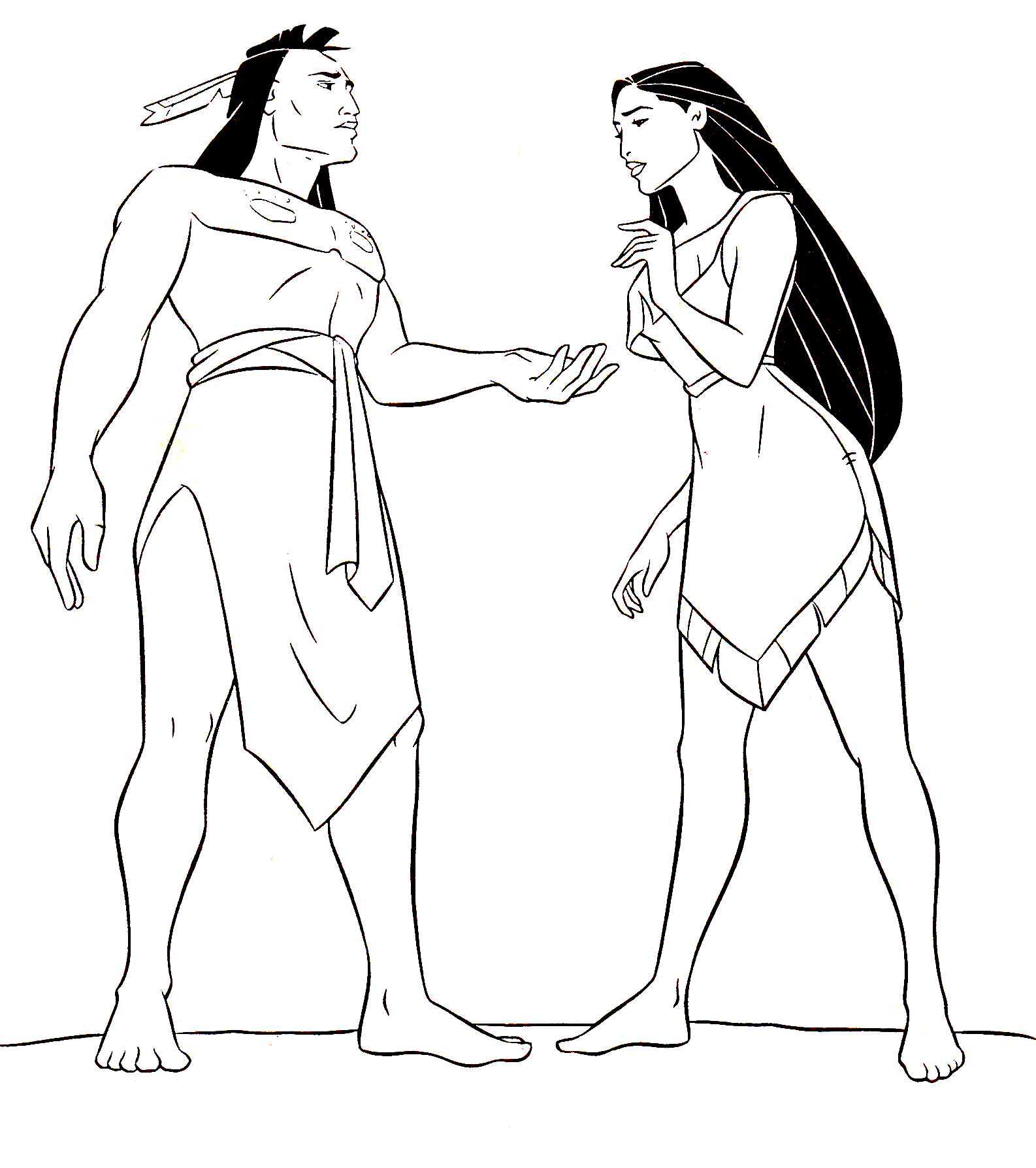 Walt Disney Coloring Pages - Kocoum & Pocahontas