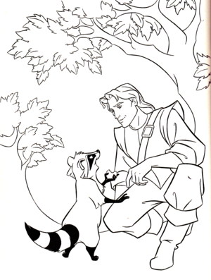 Walt Дисней Coloring Pages - Meeko & Captain John Smith