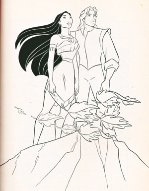 Walt 디즈니 Coloring Pages - Pocahontas & Captain John Smith