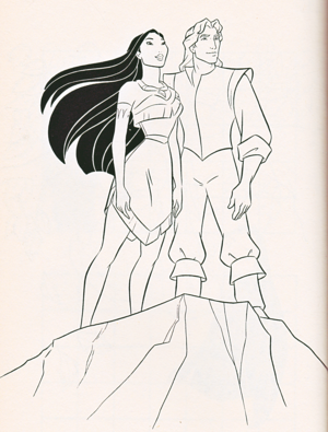 Walt ডিজনি Coloring Pages - Pocahontas & Captain John Smith