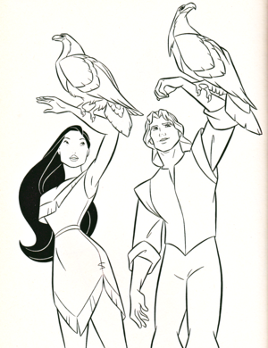 Walt Дисней Coloring Pages - Pocahontas & Captain John Smith