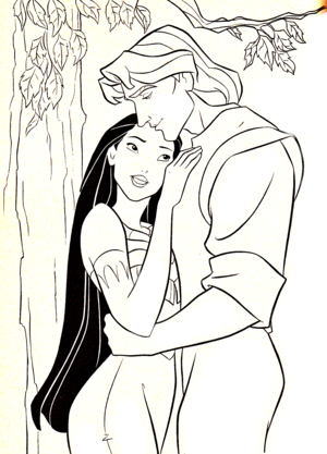 Walt ディズニー Coloring Pages - Pocahontas & Captain John Smith