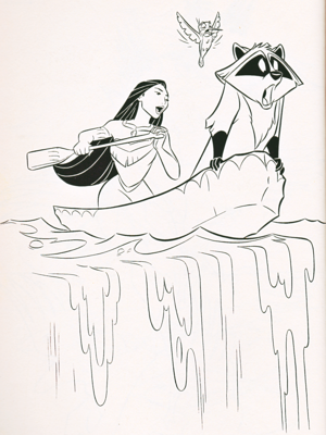 Walt Disney Coloring Pages - Pocahontas, Flit & Meeko