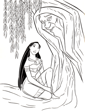 Walt 迪士尼 Coloring Pages - Pocahontas & Grandmother Willow