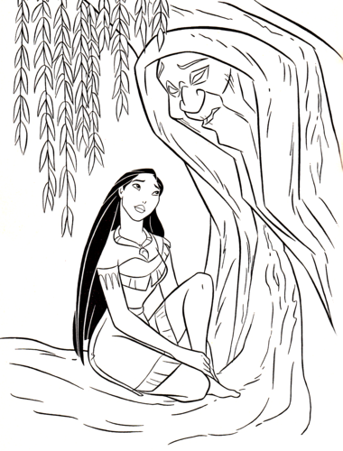 Walt Disney Characters wallpaper called Walt Disney Coloring Pages - Pocahontas & Grandmother Willow