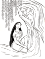 Walt Disney Coloring Pages - Pocahontas & Grandmother Willow