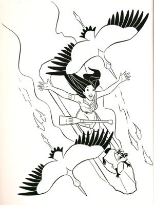 Walt ডিজনি Coloring Pages - Pocahontas & Meeko