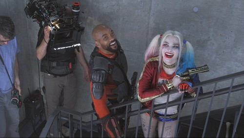 Suicide Squad wallpaper entitled Will Smith as Deadshot and Margot Robbie as Harley Quinn ~ Behind-The-Scenes