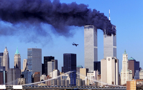 World Trade Center Footage वॉलपेपर containing a business district and a गगनचुंबी इमारत entitled World Trade Center Attack