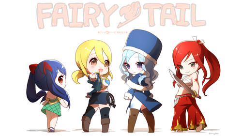 Fairy Tail wallpaper containing Anime titled Anime girl chibi fairy tail wendy marvell lucy heartfilia juvia lockser erza scarlet 1920x1080