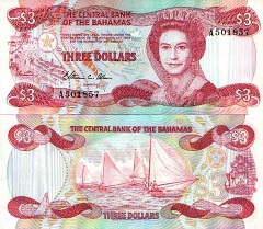 billet 3 dollars 1984 bahamas