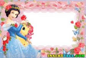 childrens photo frame with snow white flowers butterflies 5356 fb