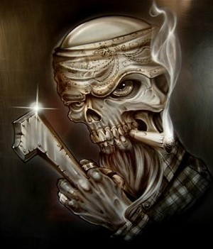 cool skull smoking airbrush