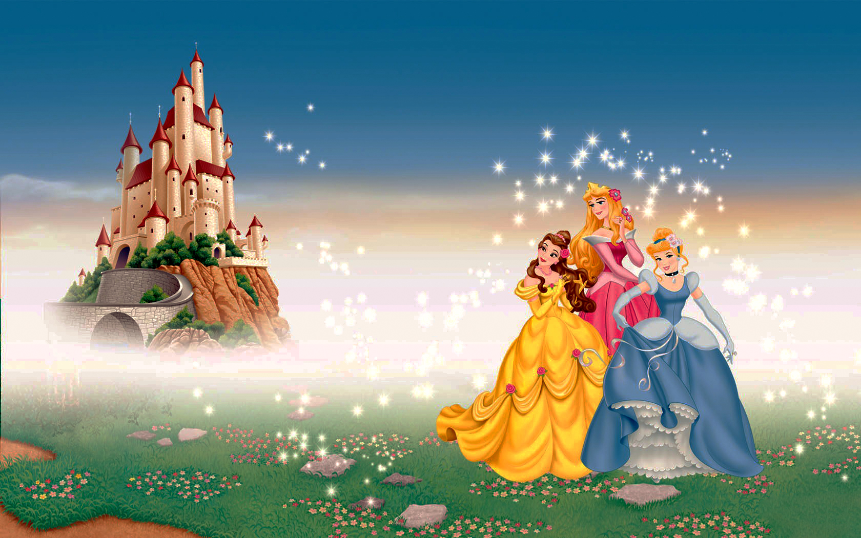 Walt Дисней Обои - Princess Belle, Princess Aurora & Princess Золушка