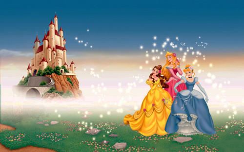 Walt Disney Characters wallpaper probably with a bouquet and a fountain titled Walt Disney Wallpapers - Princess Belle, Princess Aurora & Princess Cinderella