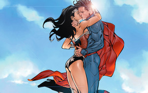wonder woman superman kiss door xionice