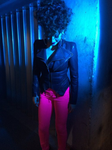Karen Harding Hintergrund containing hosiery, a hip boot, and tights called 'Say Something' Musik video, just gone over 13mil!