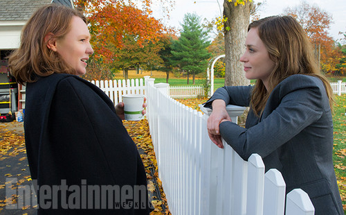 "Book to Screen Adaptations Hintergrund with a picket fence and a palisade titled ""The Girl on The Train"" Movie Adaptation Promotional Picture"