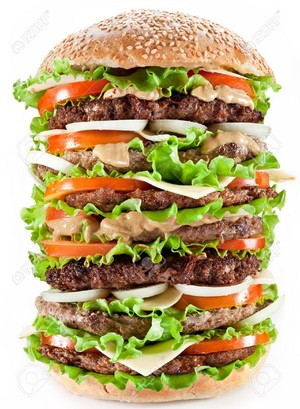 9074409 Gigantic hamburger on white background Stock 写真 hamburger burger big