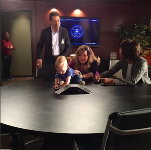 Actress A.J. Cook's son, Phoenix Sky Andersen, on the set of Criminal Minds