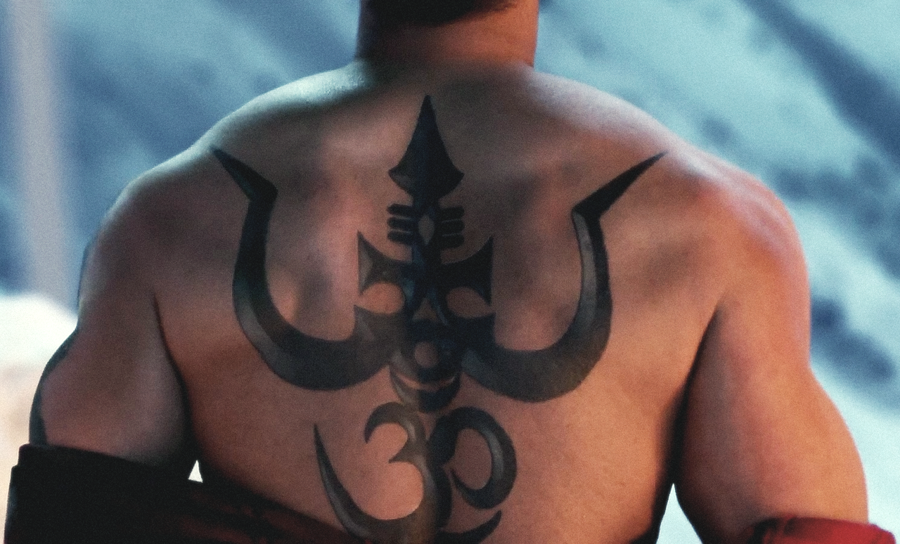 Ajay Devgn Shirtless Shivaay Back Trident Tattoo